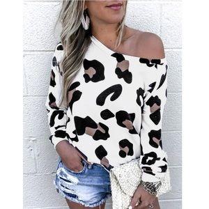 YOINS White Leopard Round Neck Long Sleeve